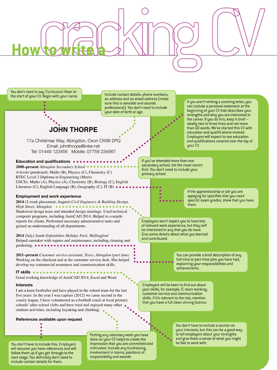 how to write a cracking school leaver cv
