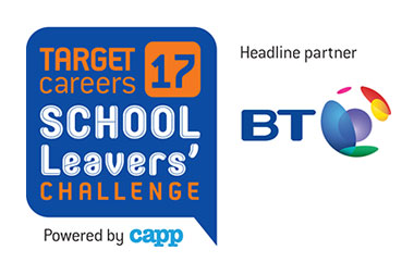 TARGETcareers School Leavers' Challenge logo - Headline partner BT - Powered by Capp