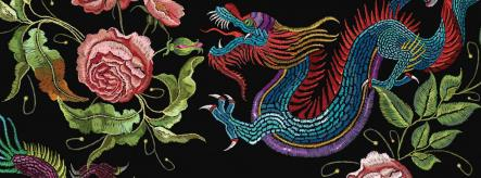 Careers in art - fabric embroidered with dragon and flowers