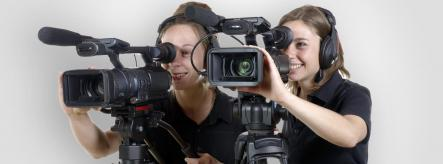 Young media apprentices working in broadcasting