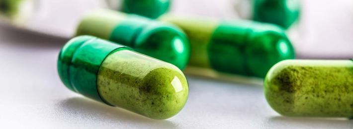 photo of green pills