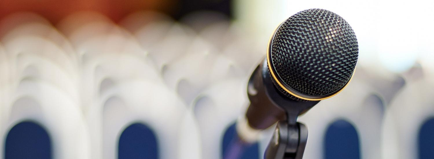 Microphone at the front of debate hall