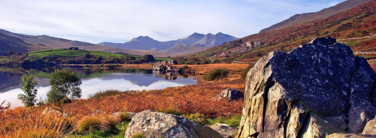 Wide-angle shot overlooking Snowdonia national park