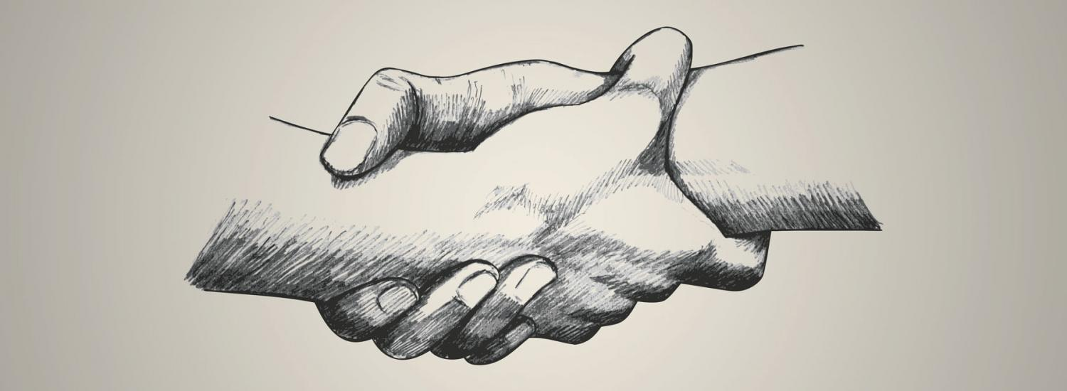 Careers helping people - two hands linked together