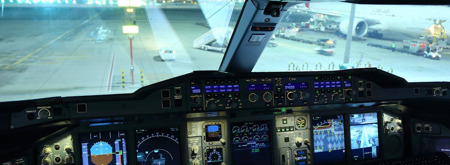 Cockpit of Airbus A380 - careers as a pilot