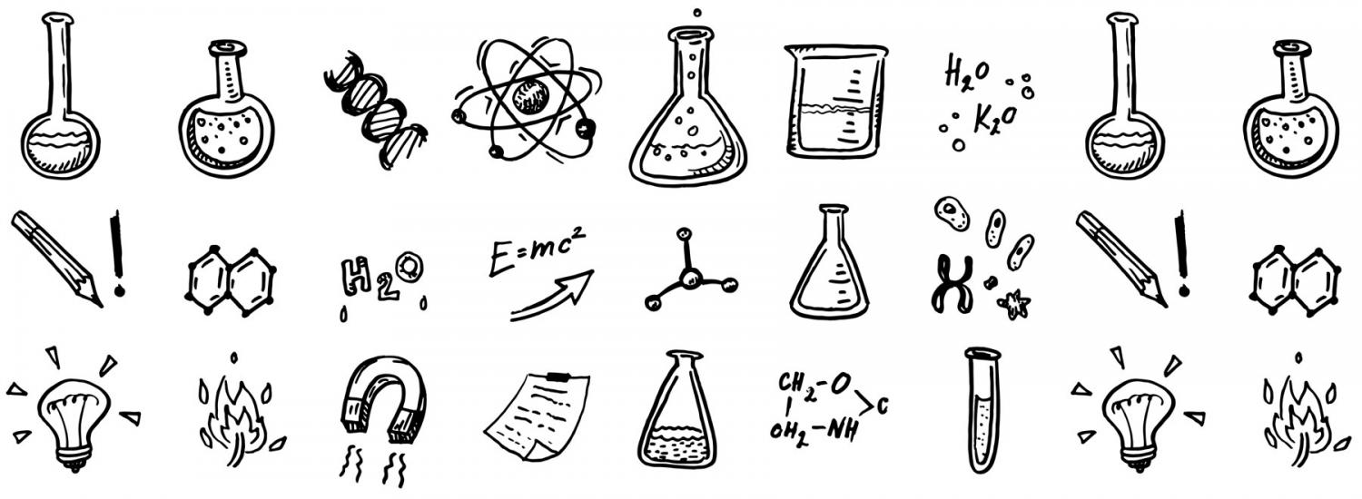 Drawings of science experiments and concepts